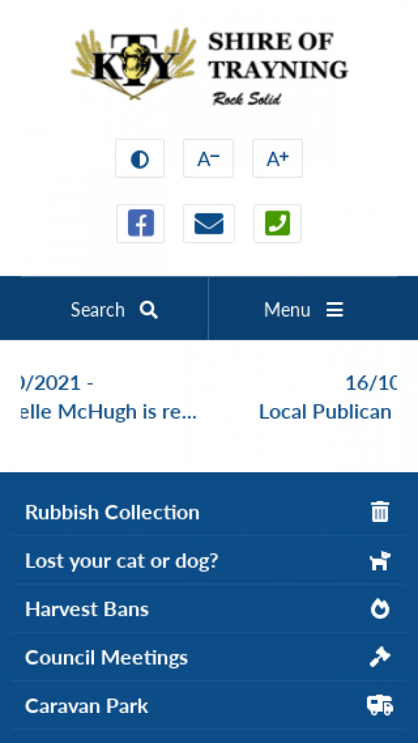 Mobile screenshot of Shire of Trayning website
