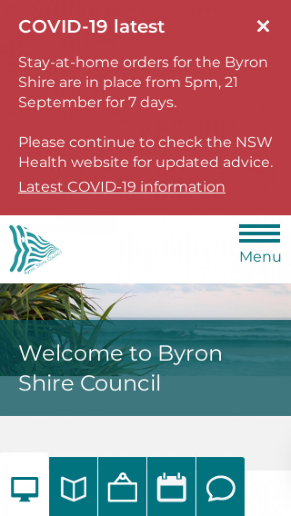 Mobile screenshot of Byron Shire Council website