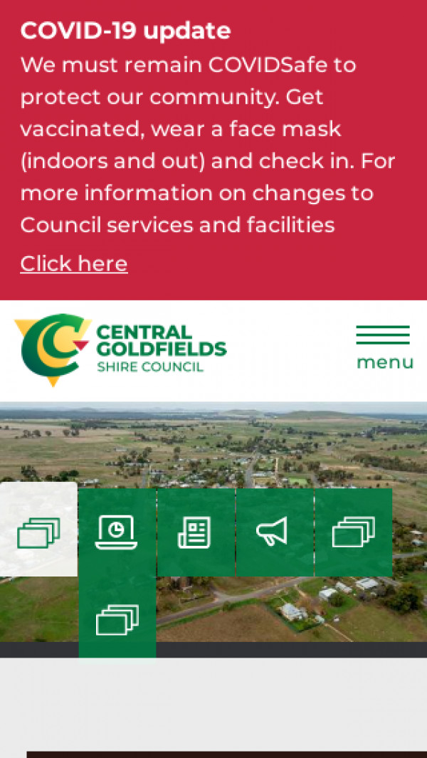 Mobile screenshot of Central Goldfields Shire Council website