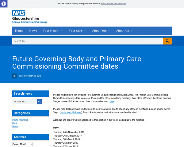 Screenshot of Future Governing Body and Primary Care Commissioning Committee dates : NHS Gloucestershire CCG