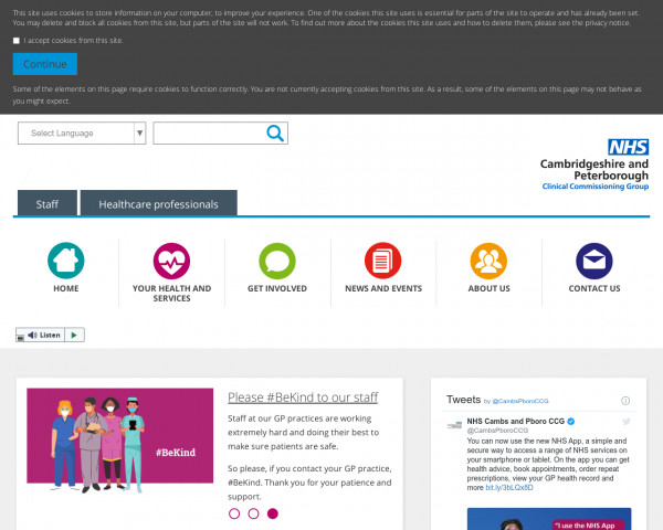 Screenshot of Homepage | Cambridgeshire and Peterborough Clinical Commissioning Group