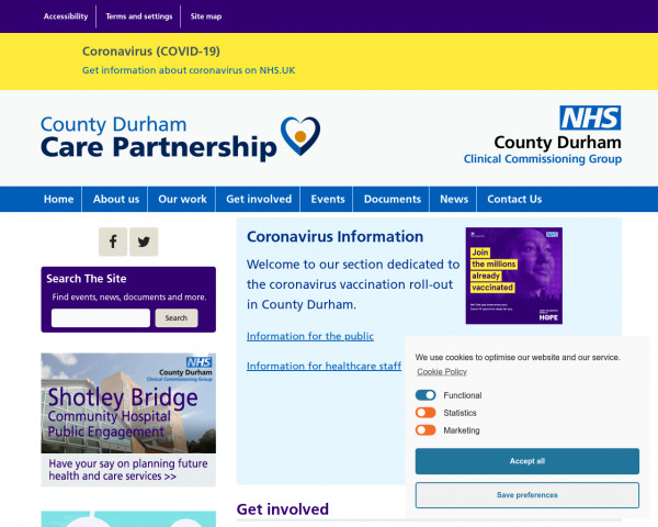 Screenshot of NHS County Durham CCG – County Durham Clinical Commissioning Group