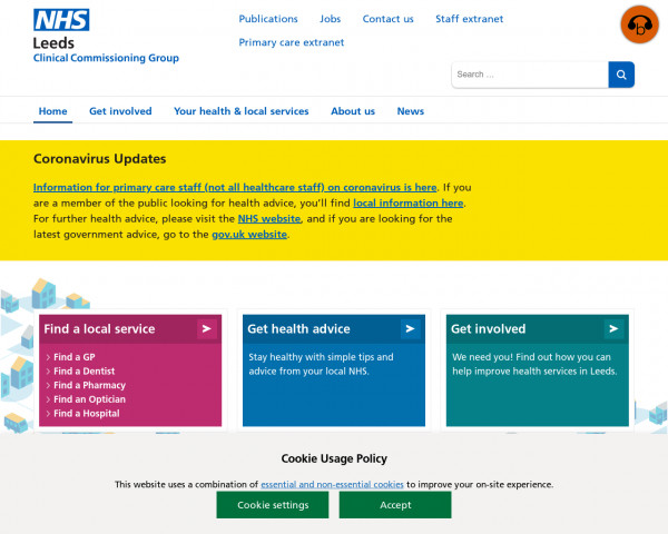 Desktop screenshot of NHS Leeds CCG website