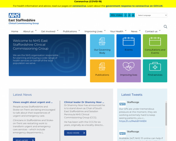 Screenshot of Home - NHS East Staffordshire Clinical Commissioning Group