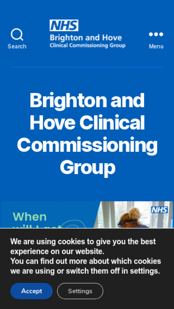 Mobile screenshot of NHS Brighton and Hove CCG website