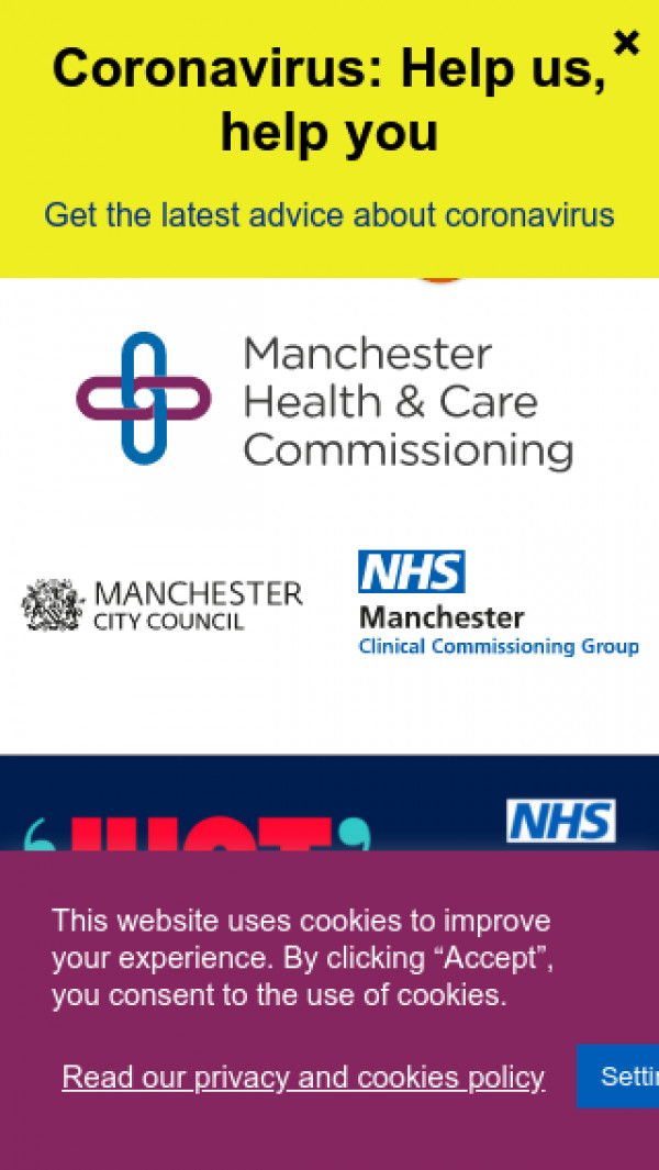 Mobile screenshot of NHS Manchester Health & Care Commissioning website