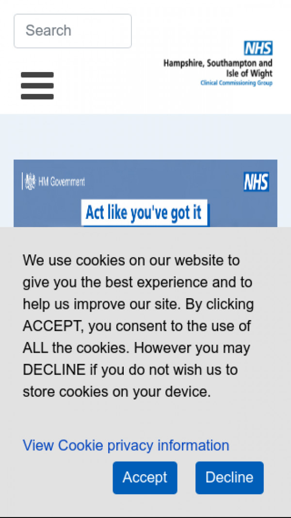 Mobile screenshot of NHS Hampshire, Southampton and Isle of Wight CCG website