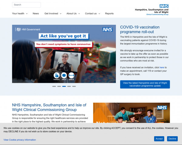 Desktop screenshot of NHS Hampshire, Southampton and Isle of Wight CCG website