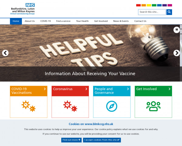Desktop screenshot of NHS Bedfordshire, Luton, and Milton Keynes CCG website