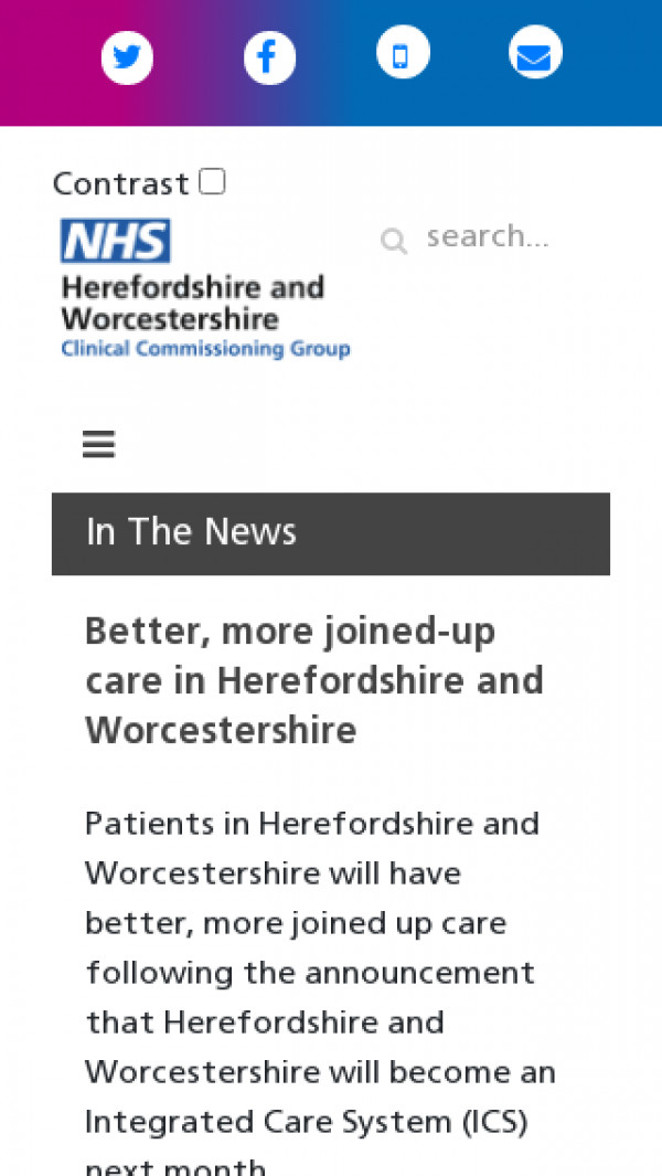 Mobile screenshot of NHS Herefordshire and Worcestershire CCG website