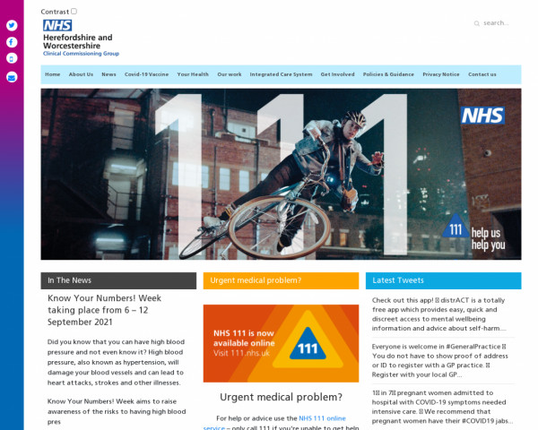 Screenshot of Herefordshire and Worcestershire ccg - Home
