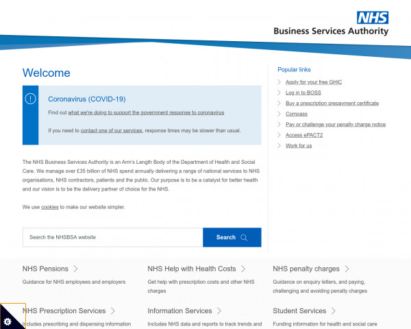 Screenshot of NHS Business Services Authority (NHSBSA)