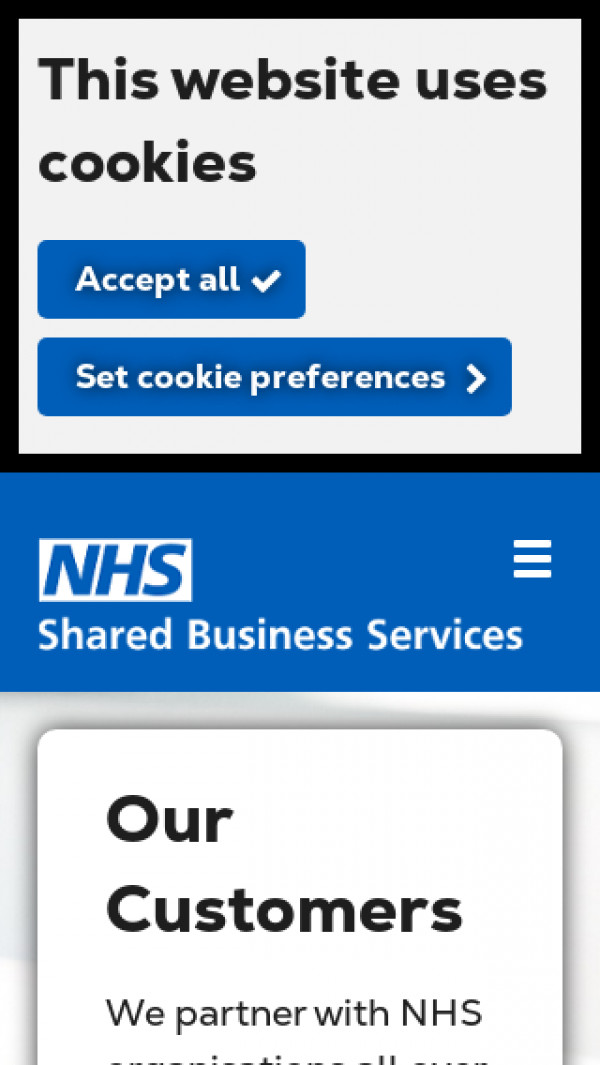 Mobile screenshot of NHS Shared Business Services website