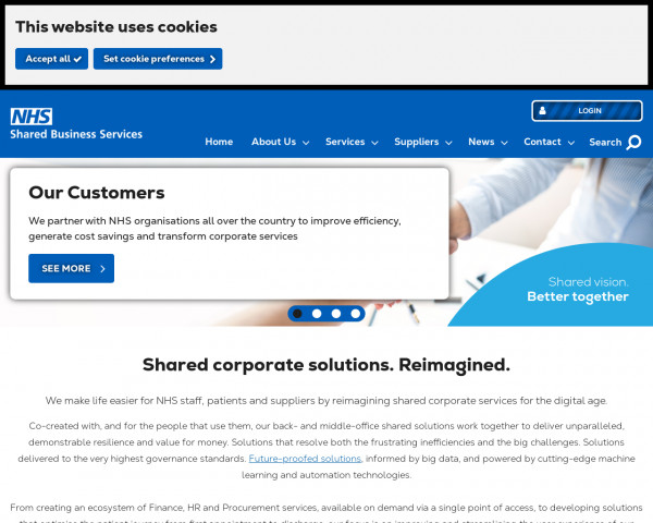 Screenshot of NHS Shared Business Services