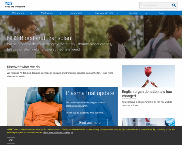 Desktop screenshot of NHS Blood & Transplant website