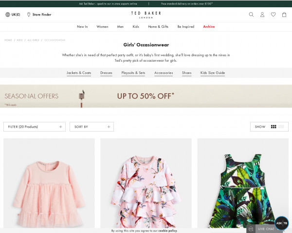 Screenshot of Girls' Party Dresses   Girls' Wedding Outfits   Ted Baker UK