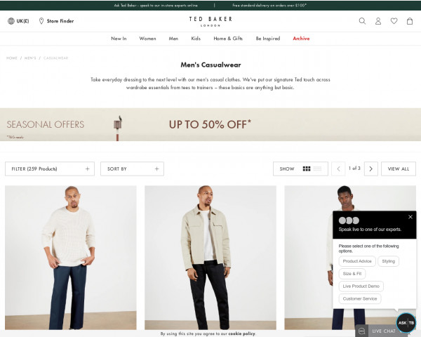 Screenshot of Men's Casual Clothes & Shoes   Leisurewear   Ted Baker UK