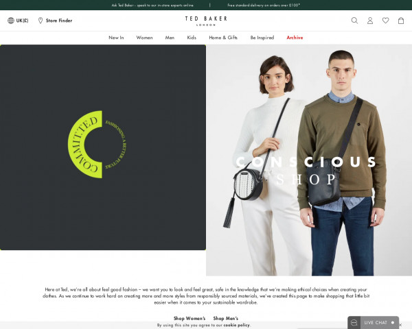 Screenshot of Conscious Shop   Recycled & Conscious Clothes   Ted Baker UK
