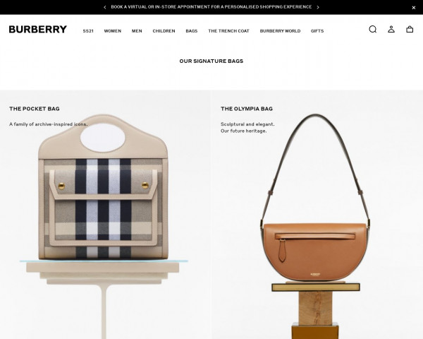 Screenshot of Burberry Bag Collection | Luxury Bags | Burberry® Official
