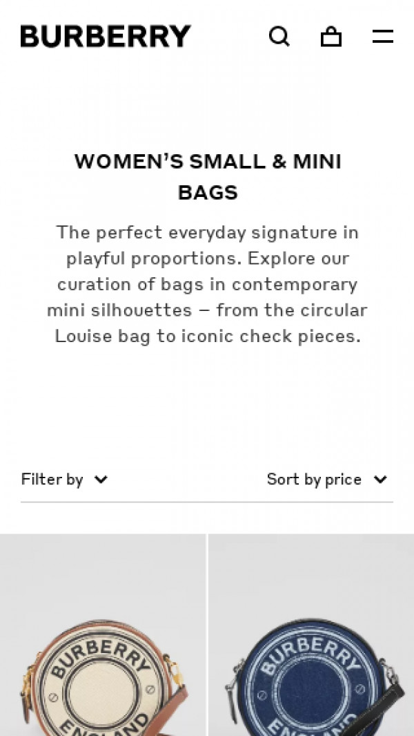 Screenshot of Women's Mini Bags   Leather Small Bags   Burberry® Official