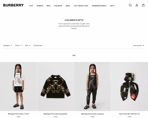 Screenshot of Gifts for Children | Official Burberry®