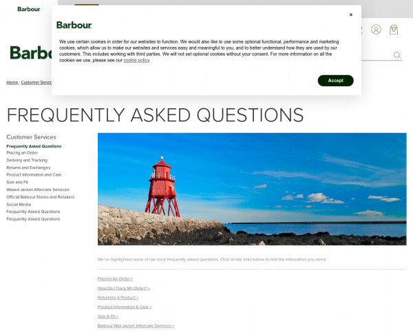 Screenshot of Frequently Asked Questions   Barbour