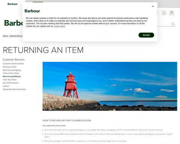 Screenshot of Returns & Refunds Policy   Barbour