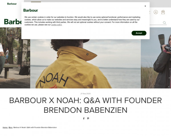 Screenshot of Barbour X Noah: Q&A with Founder Brendon Babenzien   Barbour