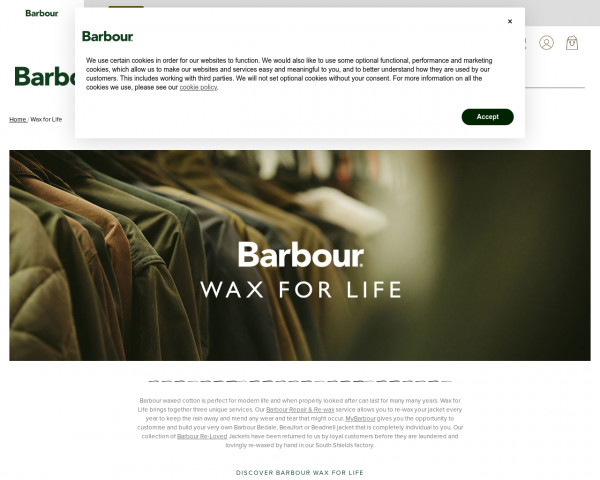 Screenshot of Wax for Life   Repair, customise or recycle your wax jacket   Barbour