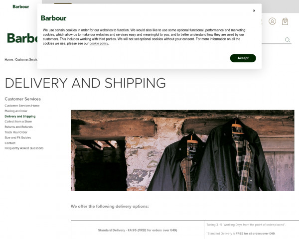Screenshot of Delivery & Shipping | Barbour