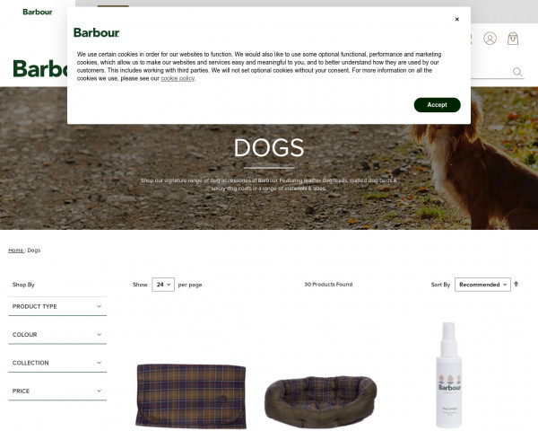 Screenshot of Dog Beds, Coats & Accessories | Dogs | Barbour
