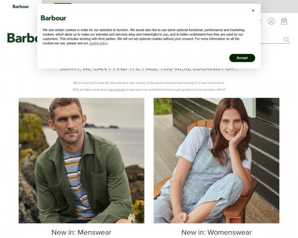 Screenshot of 404 Not Found | Barbour