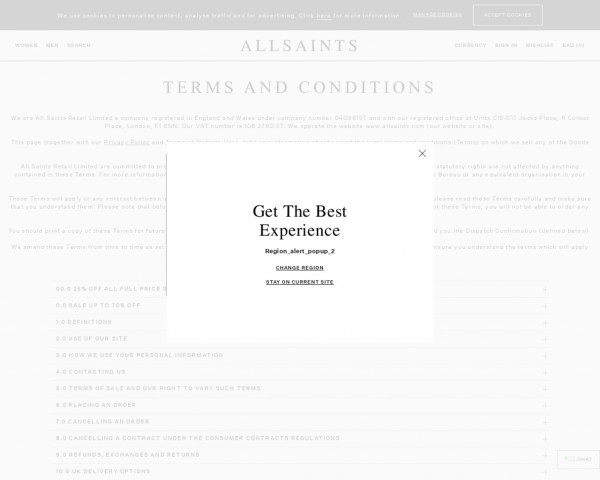 Screenshot of Customer Information | Terms and Conditions | ALLSAINTS UK