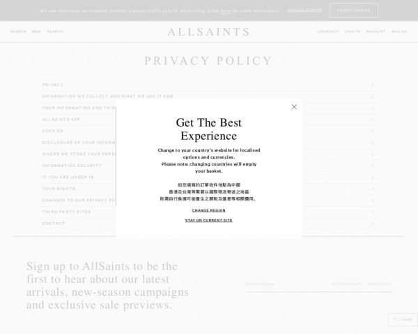 Screenshot of Customer Information | Privacy Policy | AllSaints