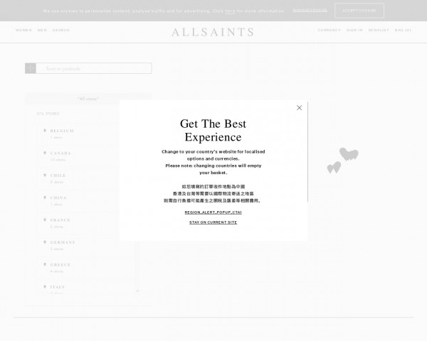 Screenshot of ALLSAINTS UK: View our list of global stores