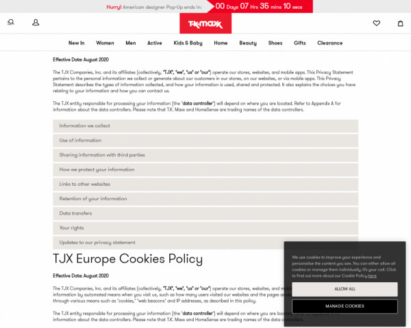 Screenshot of Privacy & Cookie Policy - TK Maxx