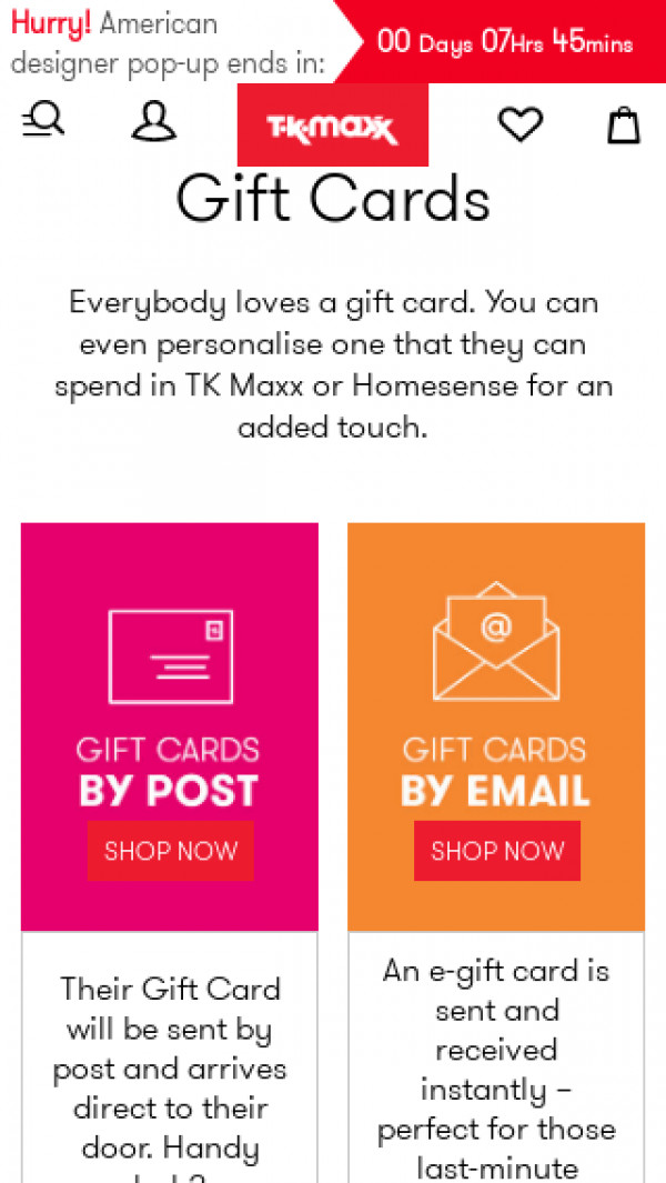 Screenshot of Gift Cards - Personalised & E Gift Cards - TK Maxx
