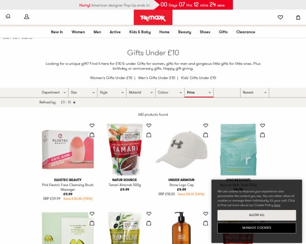 Screenshot of Gifts Under £10 - Gifts for Him - Gifts for Her - Designer - TK Maxx - TK Maxx