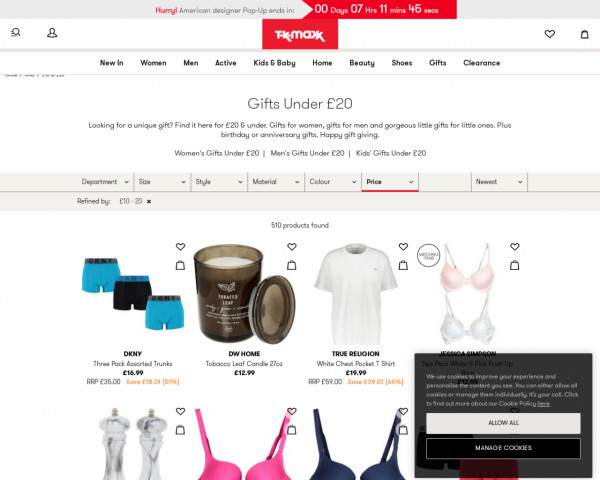 Screenshot of Gifts £10 to £20 - Gifts for Him - Gifts for Her - Designer - TK Maxx - TK Maxx