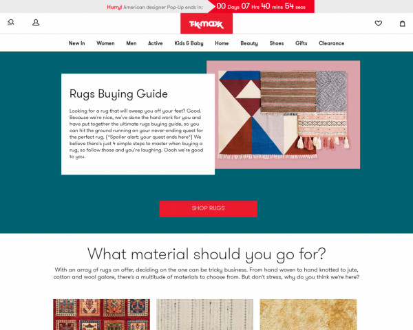 Screenshot of Rugs Buying Guide - Rugs Cleaning, Care & Tips - TK Maxx