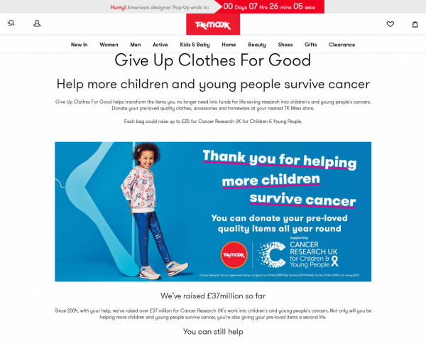 Screenshot of Give up Clothes for Good - TK Maxx
