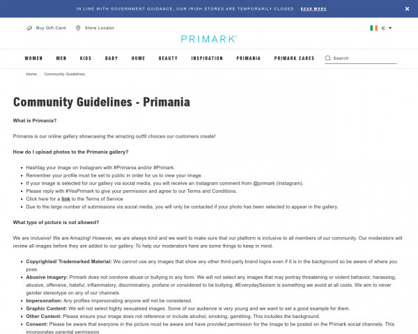 Screenshot of Community Guidelines   Penneys