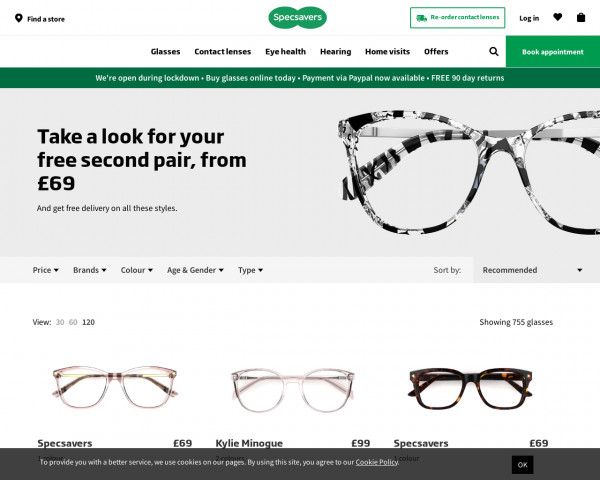 Screenshot of Glasses from £69 | Specsavers UK