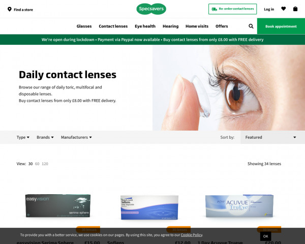 Screenshot of Buy Daily Contact Lenses Online   Specsavers UK