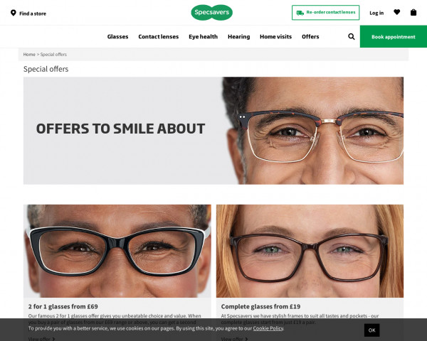 Screenshot of Offers on Glasses, Contact Lenses & Eyecare | Specsavers UK