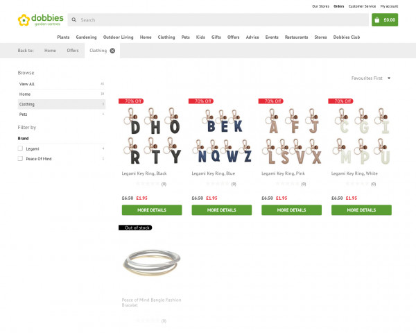 Screenshot of Clothing products | Dobbies