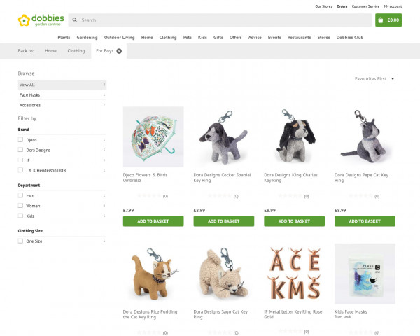 Screenshot of For Boys products | Dobbies