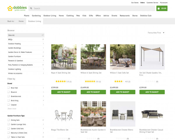 Screenshot of Outdoor Living products | Dobbies