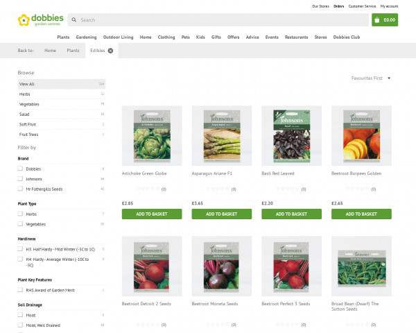 Screenshot of Edibles products | Dobbies