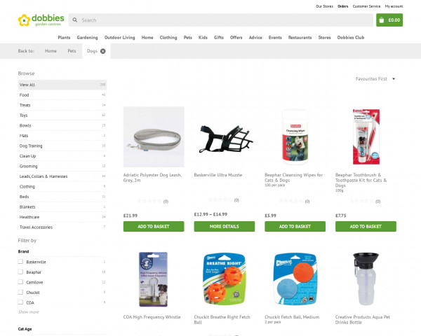Screenshot of Dogs products   Dobbies
